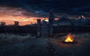 fireplace, night, monastery