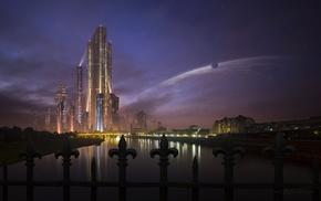 artwork, futuristic, city
