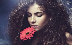 model, curly hair, girl, flowers