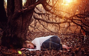 laying on side, leaves, barefoot, girl, trees, fall