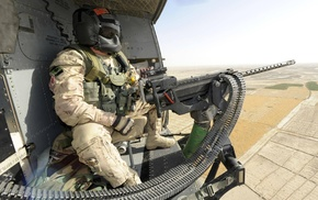 M3M Machine gun, Heckler  Koch, army, machine gun, Canada, helicopter view