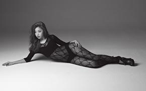 panties, lingerie, laying on side, bodysuit, Sojin, fishnet