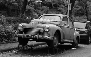 Oldtimer, monochrome, Peugeot, car
