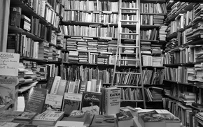 Oscar Wilde, Ernest Hemingway, Franz Kafka, books, monochrome