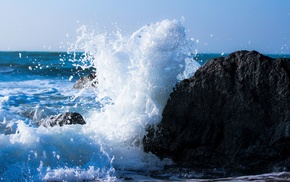 waves, rock, sea