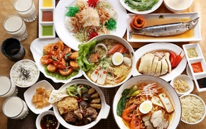 food, shrimp, drumstick, plates, Pacific Saury, rice