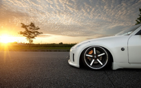 JDM, car, Nissan 350Z, sunset, vehicle, tuning