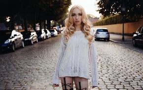 Lara Waltemode, model, blonde, girl, street