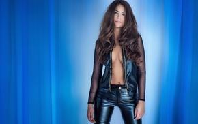 model, girl, no bra, open clothes