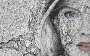 portrait, face, texture, girl, model