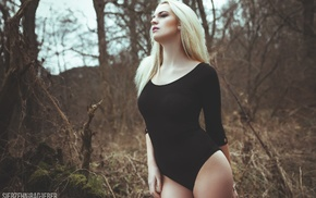 bodysuit, blonde, body lingerie, black clothing, pale, smoky eyes