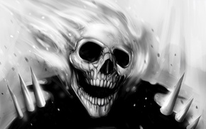artwork, monochrome, skull, Ghost Rider, fantasy art