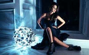 sitting, girl, model