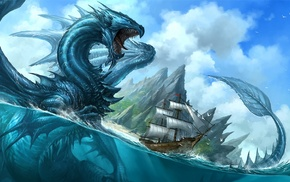 artwork, ship, split view, fantasy art, dragon