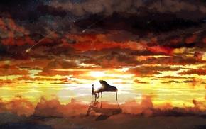 stars, sky, piano