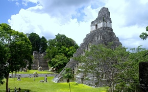 Maya civilization, ruins, trees, pyramid
