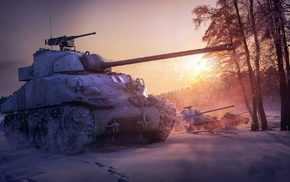 military, snow, World of Tanks, M4 Sherman, forest, video games
