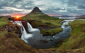 sunset, waterfall, nature, Iceland, Kirkjufell
