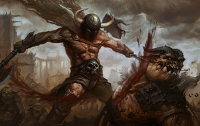 battle, warrior, fantasy armor, fantasy art, skull