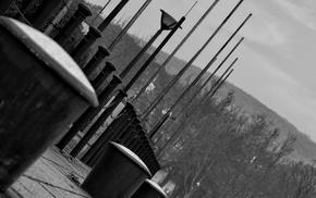 white, lake, photo manipulation, black, dock