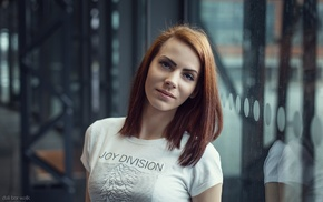redhead, girl, portrait, T, shirt, looking at viewer