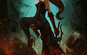 pirates, girl, sword, redhead, anime, blue eyes
