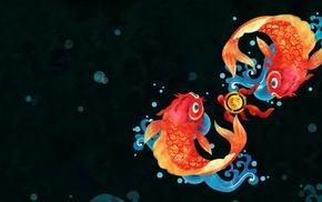 circle, fish, simple background, Chinese, bubbles, goldfish