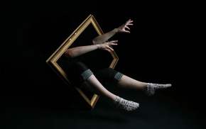 legs, simple, picture frames, hands, people, magic