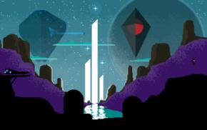water, spaceship, planet, universe, fan art, pixels