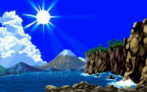 pixelated, Sun, sun rays, waves, clouds, water
