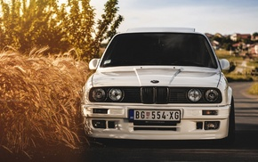 wheat, white, BMW E30, white cars, BMW, car