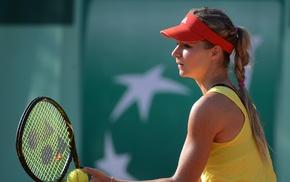 tennis, blonde, Maria Kirilenko, tennis rackets, girl, pigtails