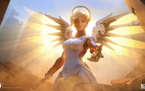 angel, Blizzard Entertainment, wings, Overwatch, Angela Ziegler, Mercy Overwatch