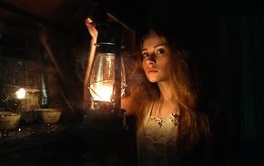 girl, model, lantern