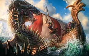 dragon, fantasy art, warrior, ship