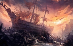 ship, fantasy art, artwork