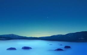 lake, sky, blue