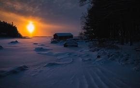 hut, snow, Sun, seasons, ice, winter