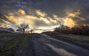clouds, road, landscape, trees