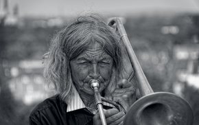 music, monochrome, old people