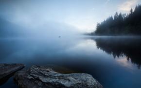 rock, lake, nature