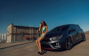 skinny, Lyubov Gulyak, high heels, girl with cars, one, piece swimsuit