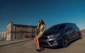 skinny, Lyubov Gulyak, high heels, girl with cars, one, piece swimsuit