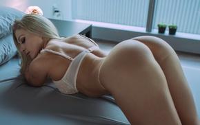 model, back, white lingerie, ass, in bed, girl