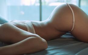 Elena Romanova, bent over, in bed, white lingerie, model, ass