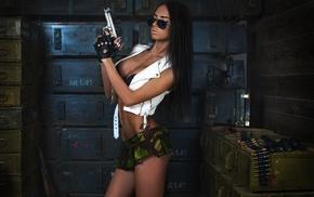 ass, brunette, micro skirt, gun, girl, model