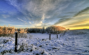 landscape, nature, clouds, winter, fence, snow