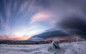 landscape, nature, snow, winter, clouds