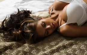 Viki Odintcova, girl, model, closed eyes, white bra, Aleksandr Mavrin