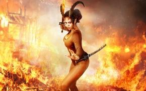 fantasy art, warrior, sword, fire, horns
